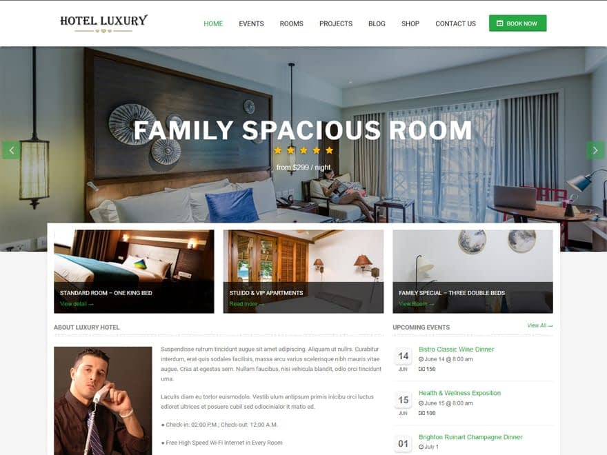 Hotel Luxury - WordPress Hotel and Resort Themes