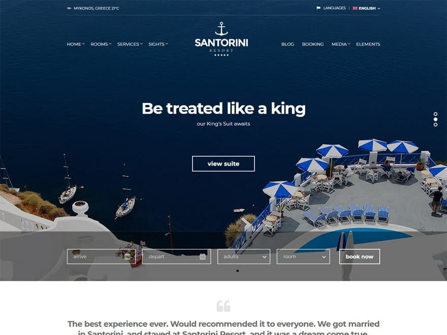 Santorini Resort - WordPress Hotel and Resort Themes