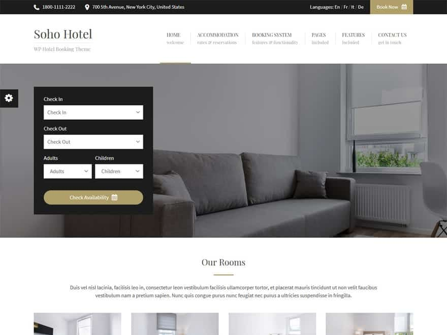 Soho Hotel - WordPress Hotel and Resort Themes