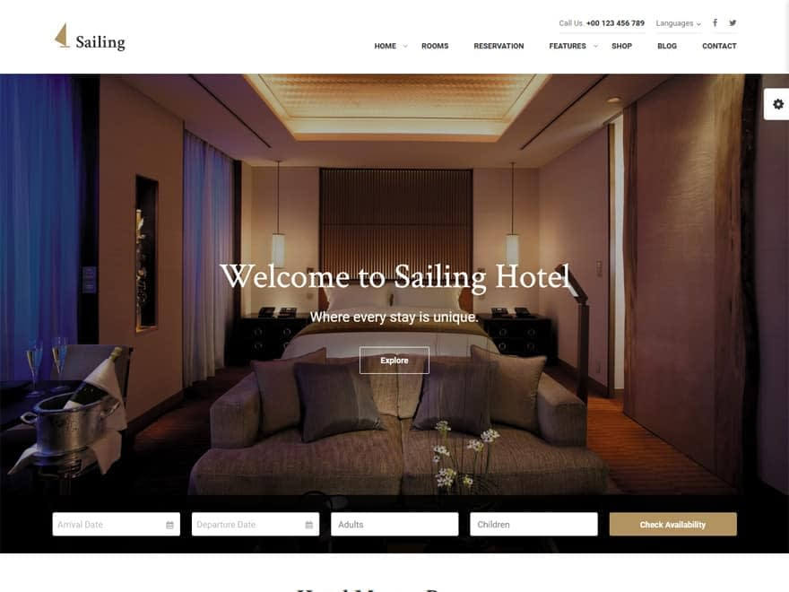 Sailing - WordPress Hotel and Resort Themes
