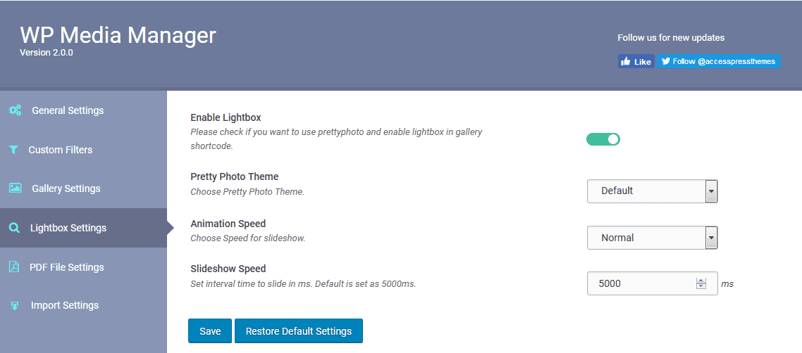 WP Media Manager: Lightbox Settings