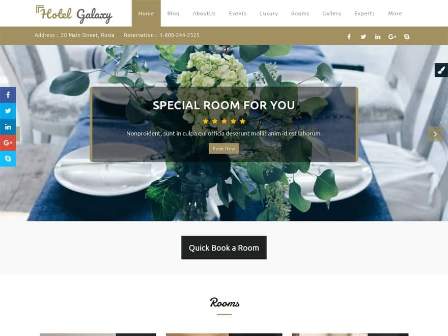 Hotel Galaxy Pro - WordPress Hotel and Resort Themes