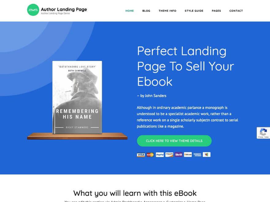 Author Landing Page Free WordPress Theme (Landing)