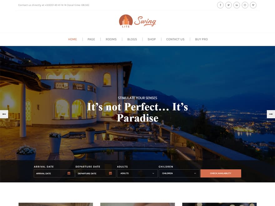 Swing Lite - Best Free Hotel Resort and BnB WordPress Themes