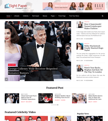 Eight Paper - Free Newspaper Magazine WordPress Theme