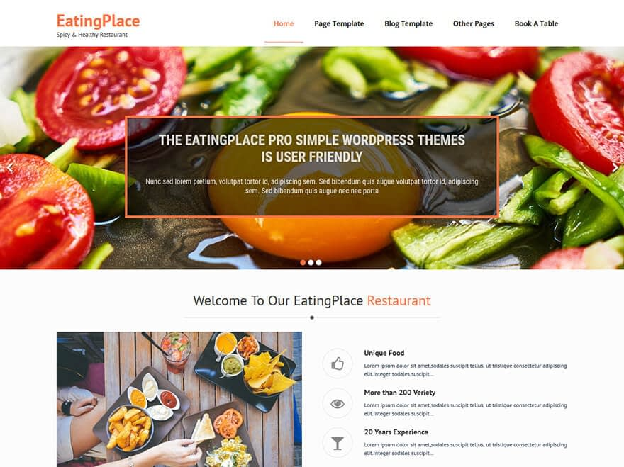 EatingPlace - Best Free Hotel Resort and BnB WordPress Themes