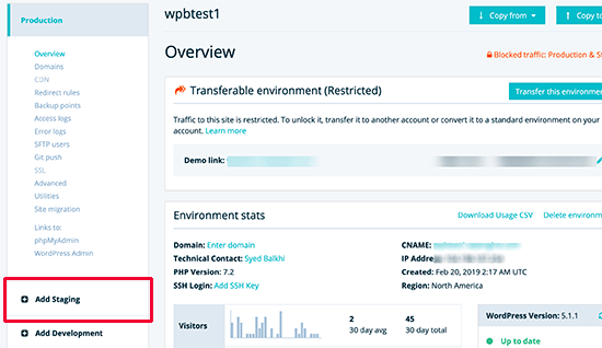 Create Staging Site on WP Engine