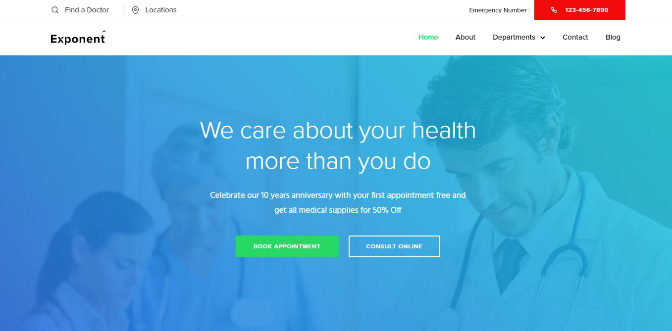 Exponent – Best Hospital Medical WordPress Theme
