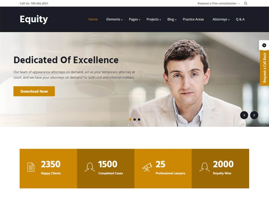 Equity-Free Lawyer WordPress Theme