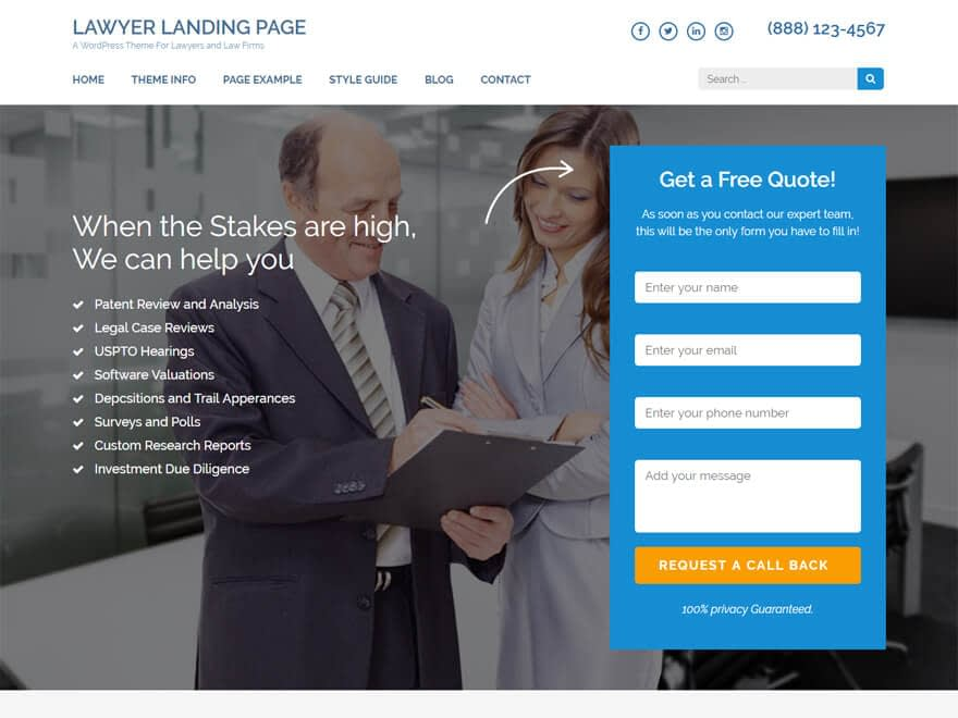 Lawyer Landing Page-Free Lawyer WordPress Theme