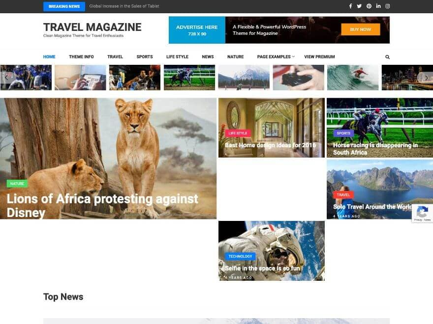 Travel Magazine Free WordPress Theme