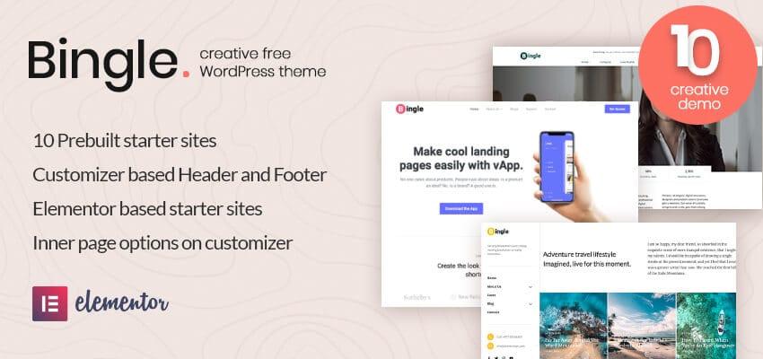 Bingle- Free Multipurpose WordPress Theme Review 2021