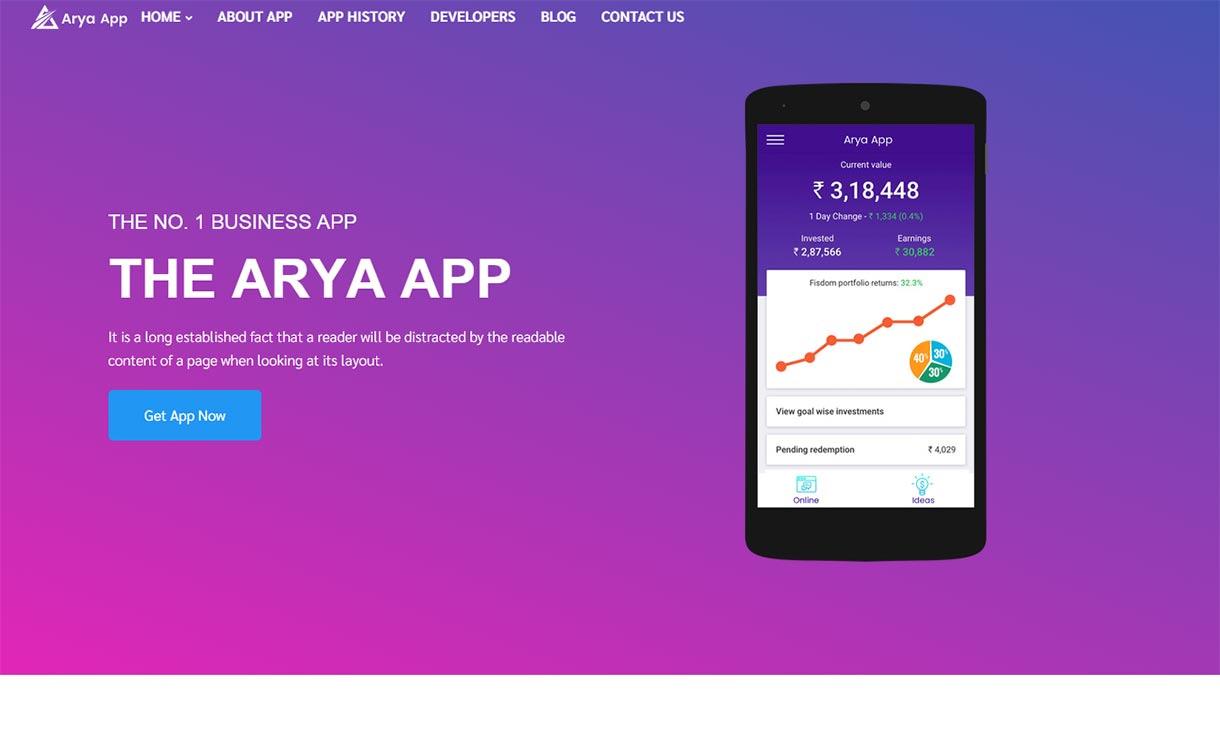 arya-best-free-mobile-app-wordpress-theme