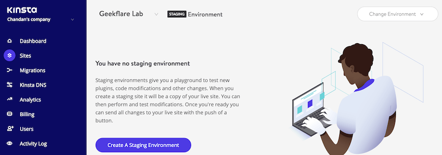 Create Staging Site on Kinsta