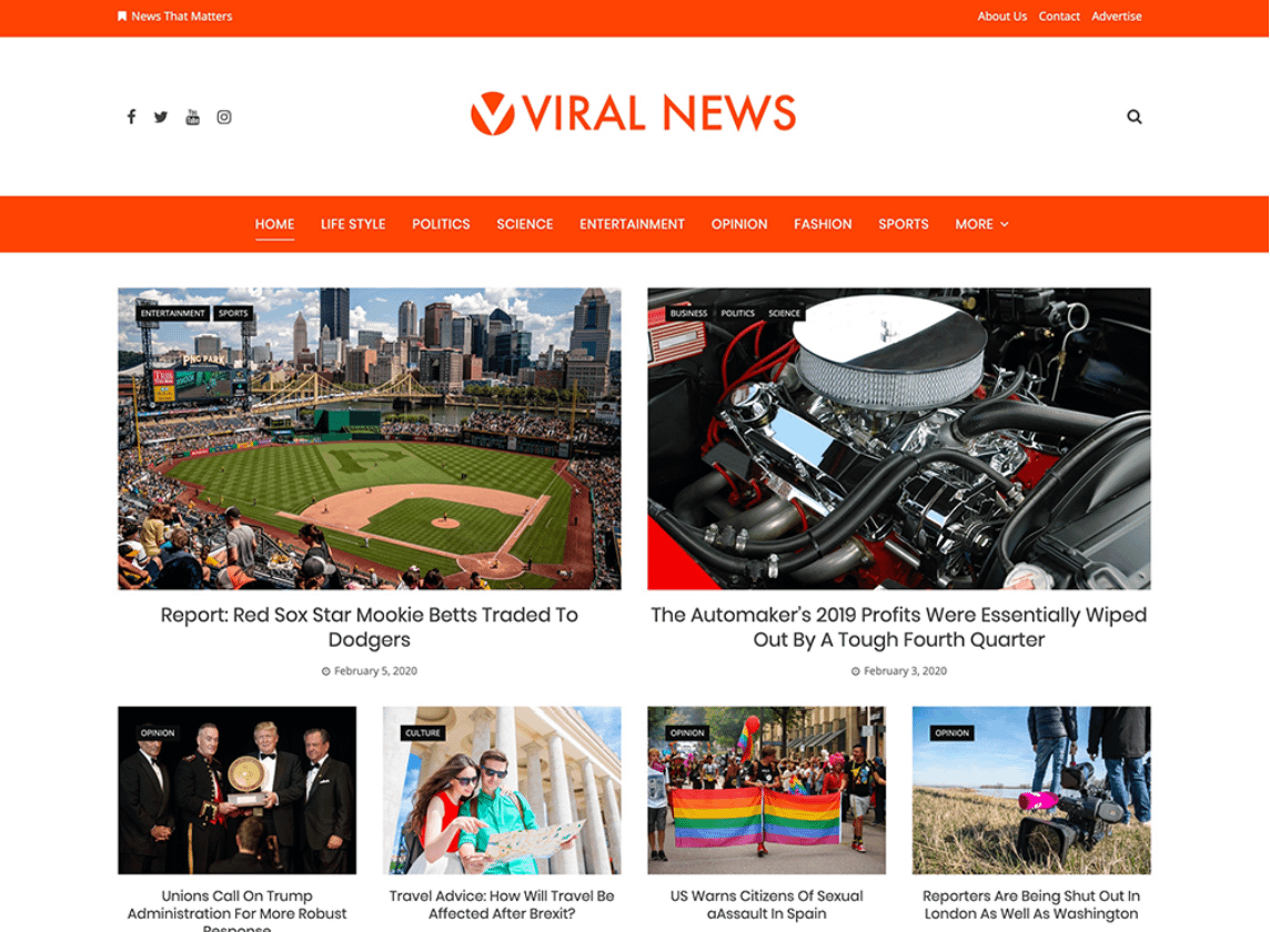 Viral News - Free Magazine WordPress Theme
