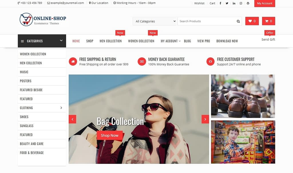 online shop free ecommerce wordpress theme