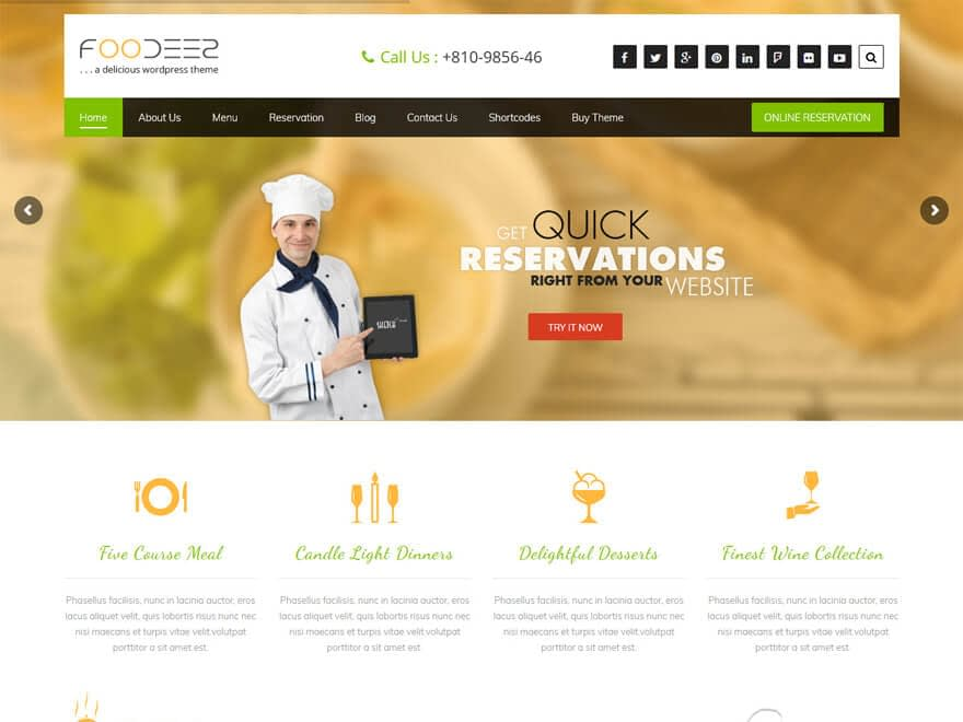 Foodeez Lite - Best Free Hotel Resort and BnB WordPress Themes