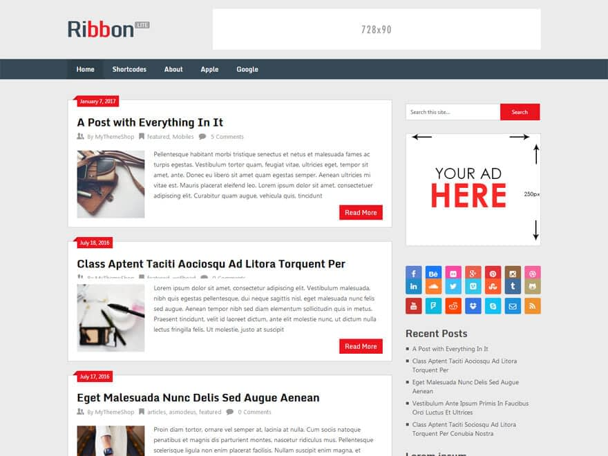 Ribbon Lite - Free WordPress Blog Themes