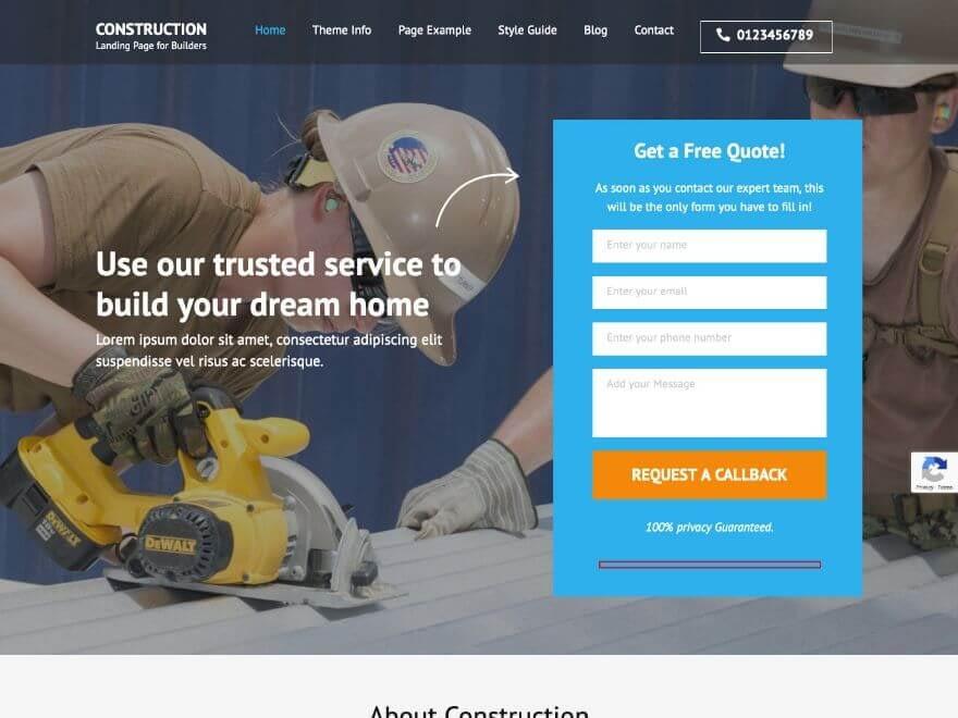 Construction Landing Free WordPress Theme