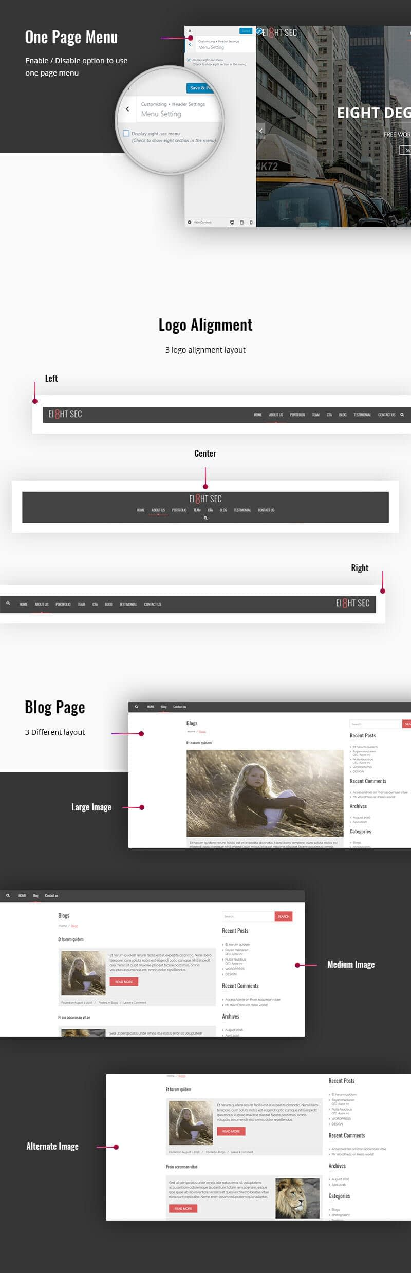 Eight Sec – Free One Page WordPress Theme