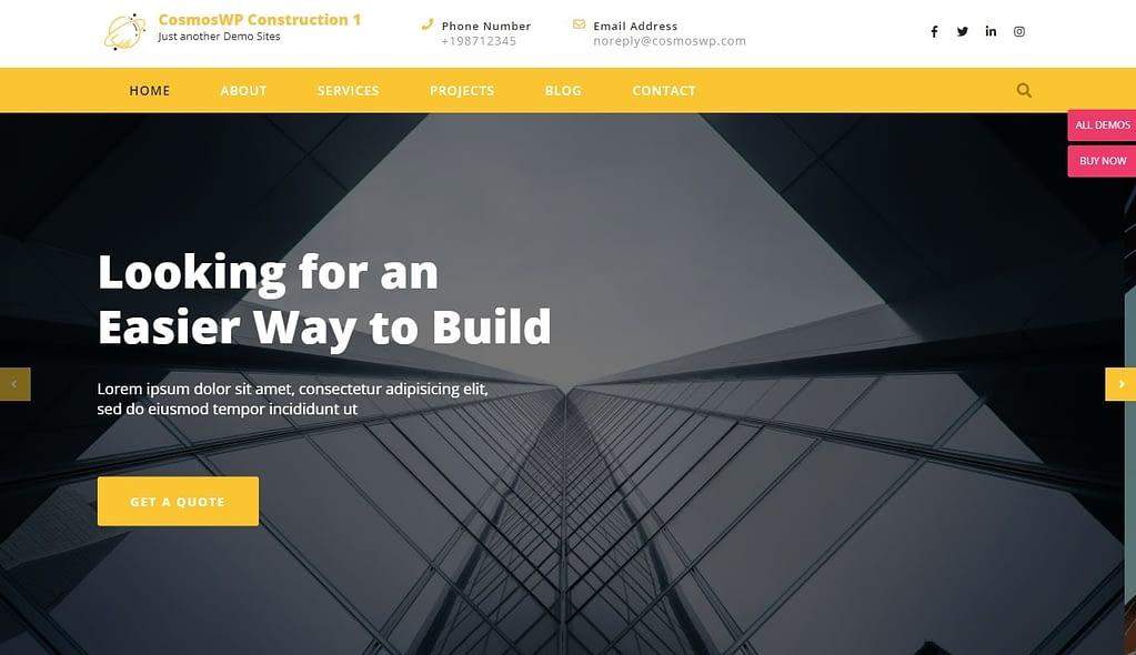 cosmoswp construction wordpress theme