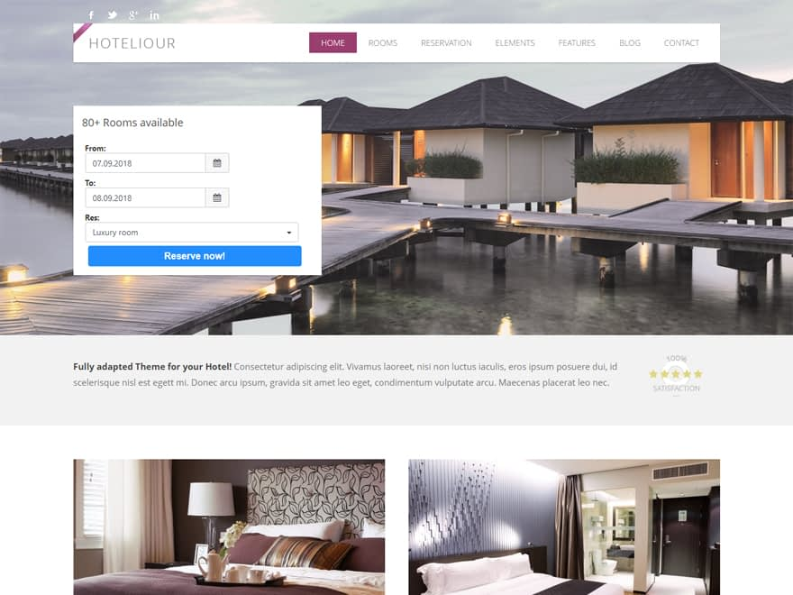 Hoteliour - Best Free Hotel Resort and BnB WordPress Themes