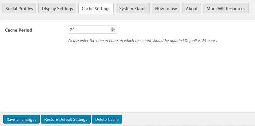 AccessPress Social Counter: Cache Settings