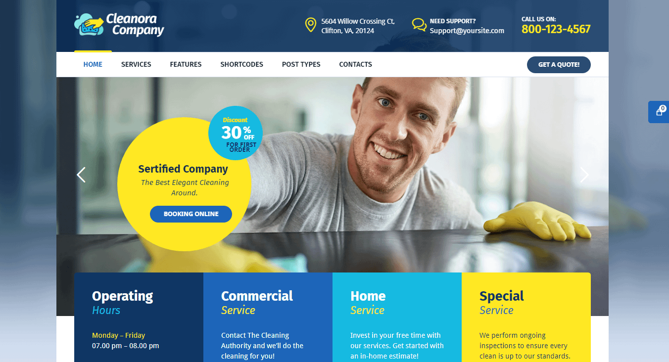 Cleanora - Best WordPress Cleaning Service Theme
