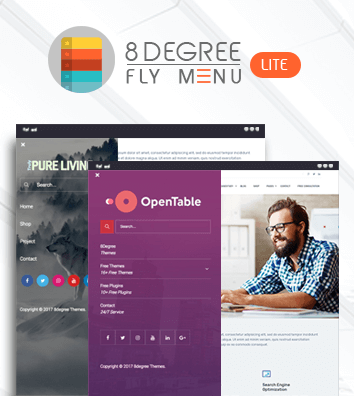 Eight Degree Fly Menu Lite - Off Canvas, Floating Menu Free Plugin for WordPress