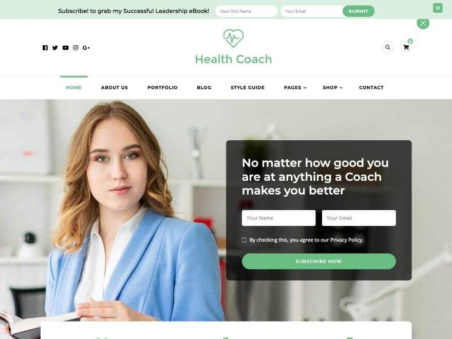 Blossom Health Coach Free WordPress Theme