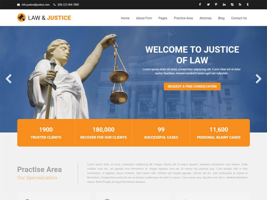 Justice-Free Lawyer WordPress Theme