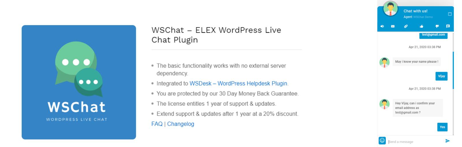 WSChat - ELEX WordPress Live Chat Plugin