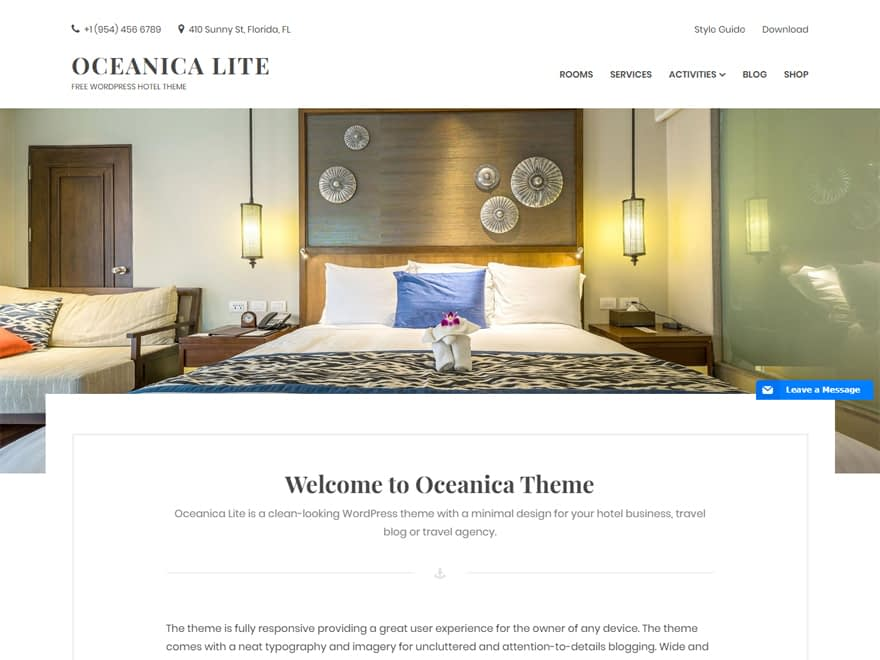 Oceanica Lite - Best Free Hotel Resort and BnB WordPress Themes