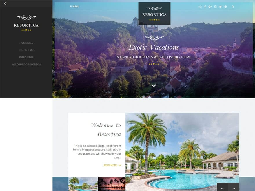 Resortica - Best Free Hotel Resort and BnB WordPress Themes