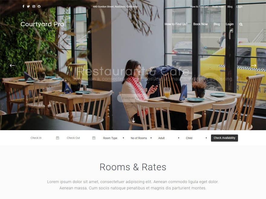 Courtyard - Best Free Hotel Resort and BnB WordPress Themes