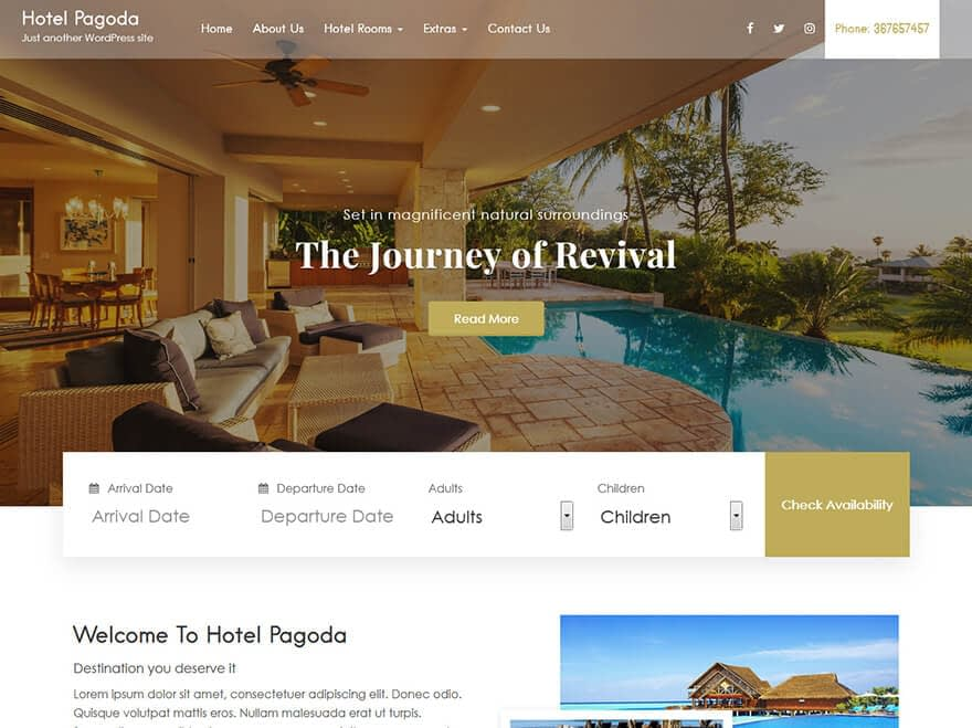 Hotel Pagoda Lite - Best Free Hotel Resort and BnB WordPress Themes