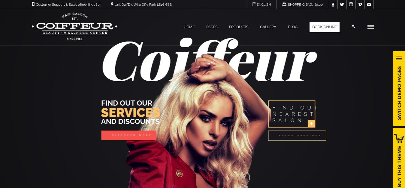 Coiffeur – Best Hairdresser WordPress Theme