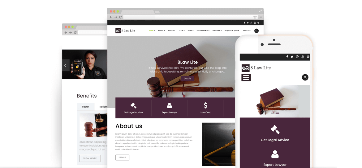 EightLaw Lite – Free Lawyer WordPress Theme For Law Firm