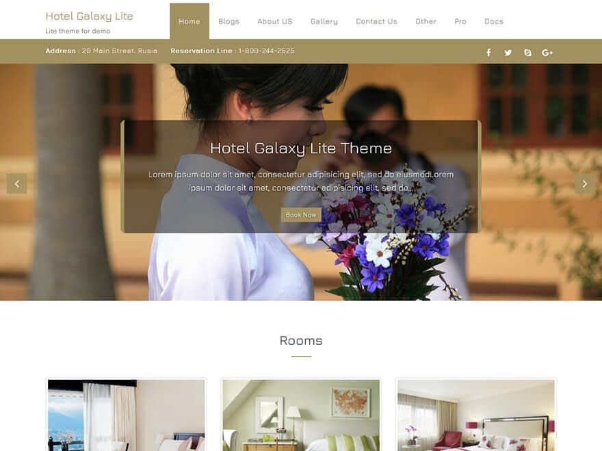 Hotel Galaxy - Best Free Hotel Resort and BnB WordPress Themes