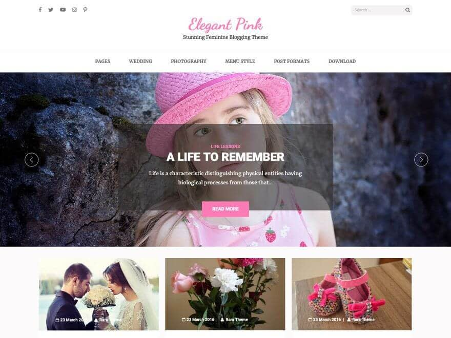 Elegant Pink Free WordPress Theme