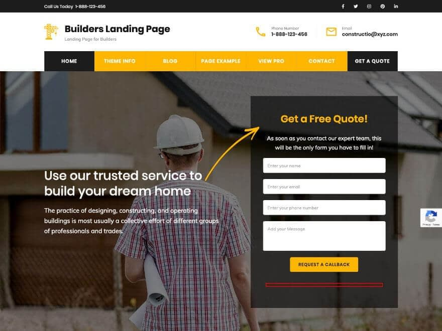 Builders Landing Page Free WordPress Theme