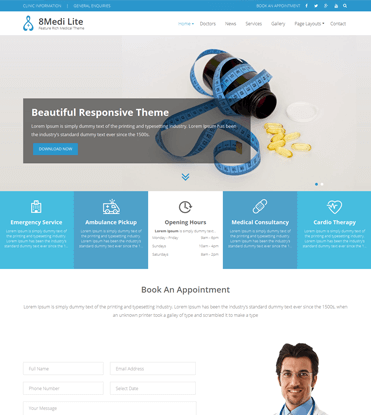 EightMedi Lite - Best Free Medical & Healthcare WordPress Theme