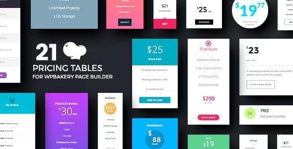 Pricing Tables for WPBakery Page Builder