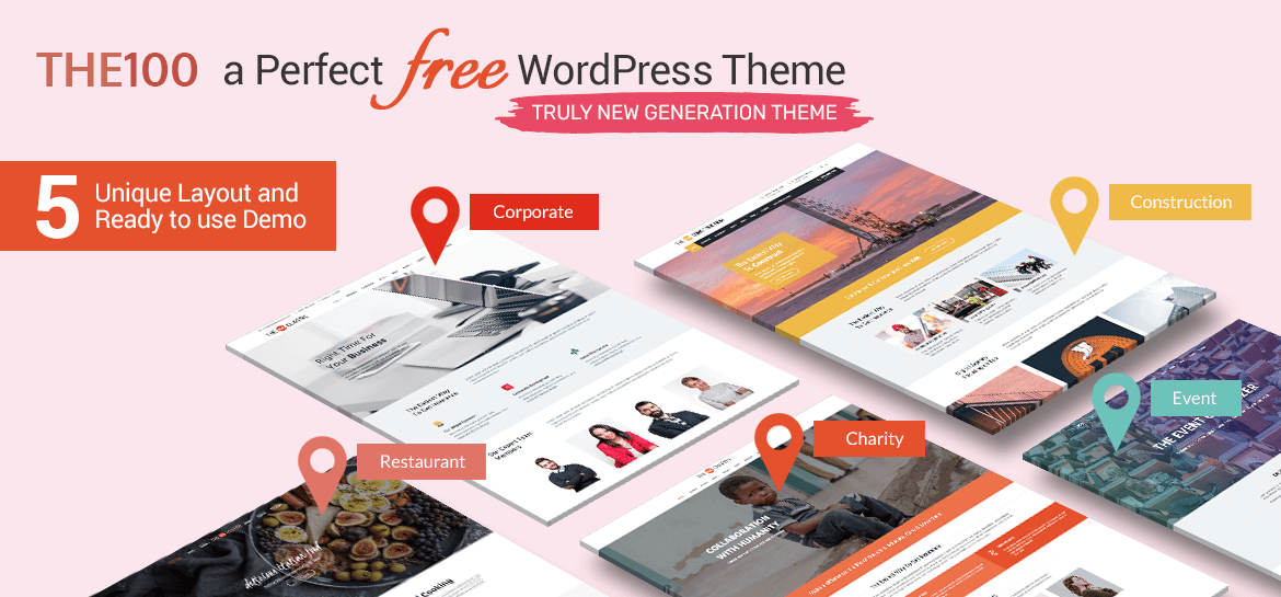 The100 - Best Free Multipurpose WordPress Theme with Multiple Demos and Layout